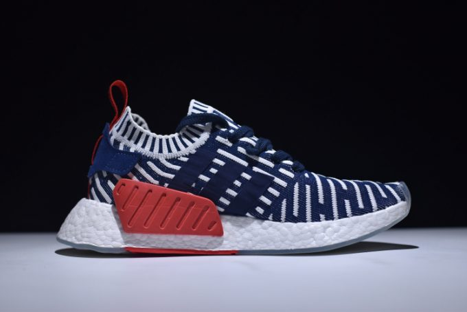 Mens adidas NMD R2 Primeknit Navy White Red Shoes 1 680x454