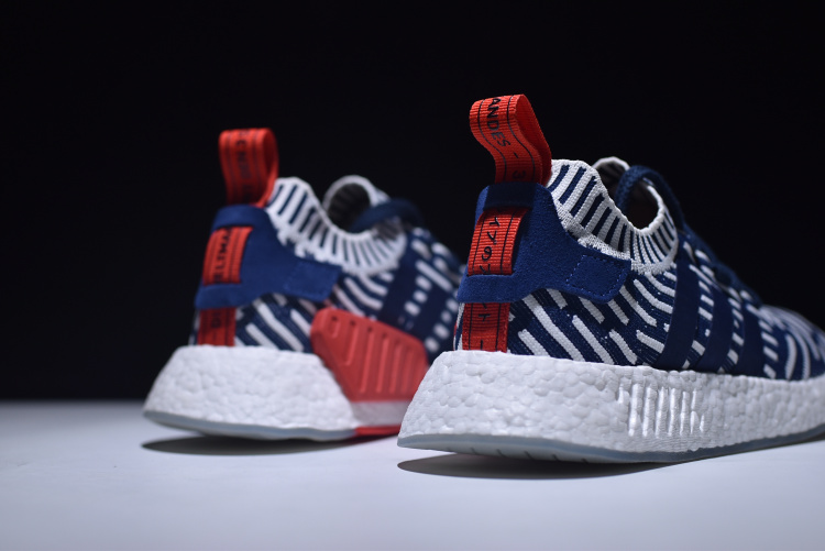Men's adidas NMD R2 Primeknit Navy/White-Red Shoes BB2909