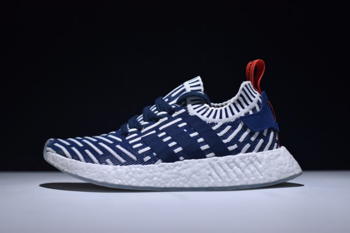 Mens adidas NMD R2 Primeknit Navy White Red Shoes 680x454