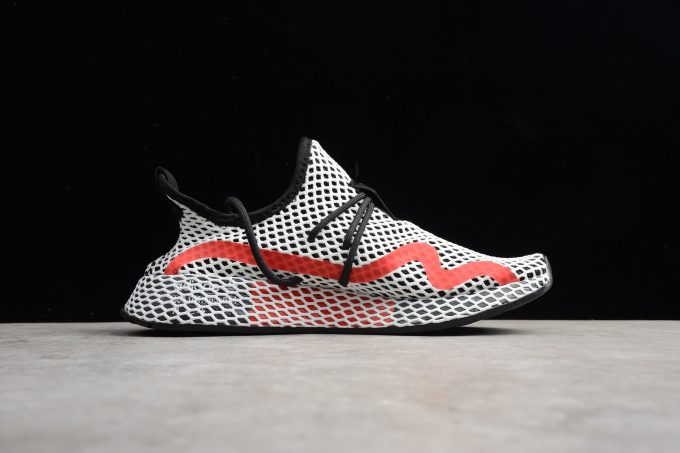 New adidas Deerupt Runner White Black Red Shoes 1 680x453