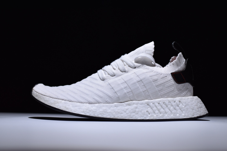 New adidas NMD R2 Primeknit FTWR White/Core Black-Red Men's Size BY3015