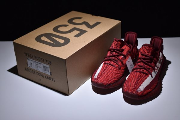 New adidas Yeezy Boost 350 V2 Maroon Zebra Teach Red White 6 600x401