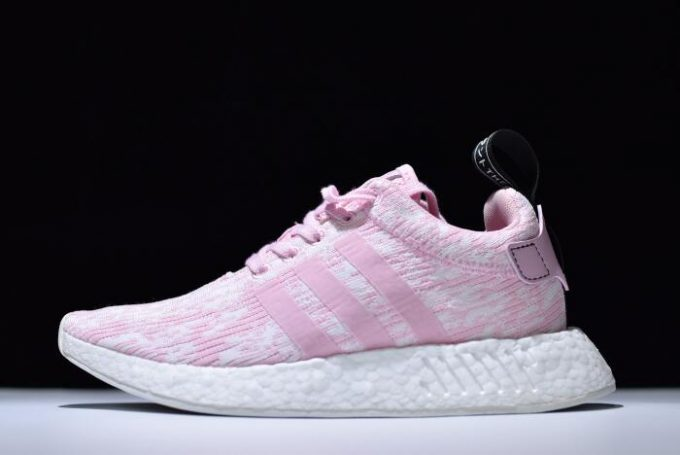 Womens adidas NMD R2 Primeknit Pink White Running Shoes 680x455