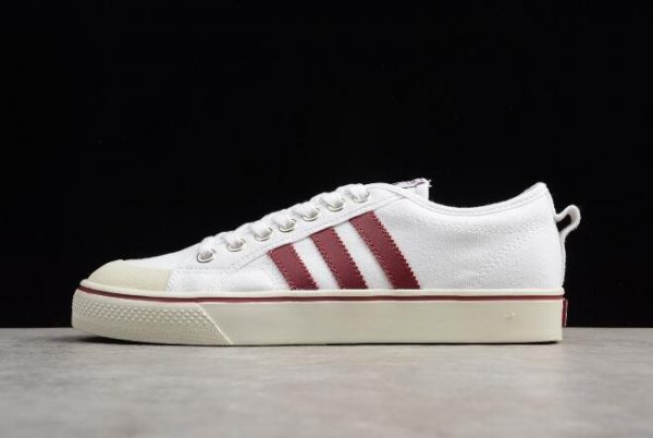 Mens and WMNS adidas Nizza White/Red Canvas Shoes CQ2328