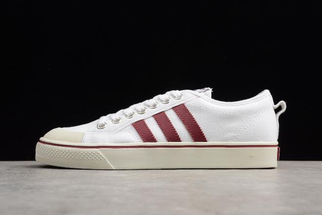 Mens and WMNS adidas Nizza White Red Canvas Shoes