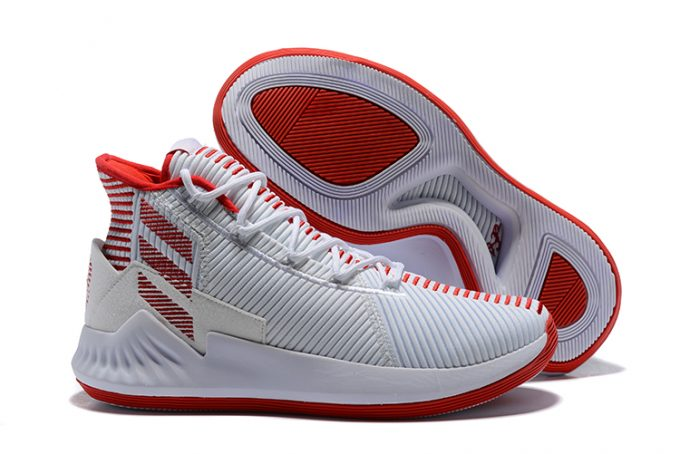 New adidas D Rose 9 White Red Mens Basketball Shoes 680x454