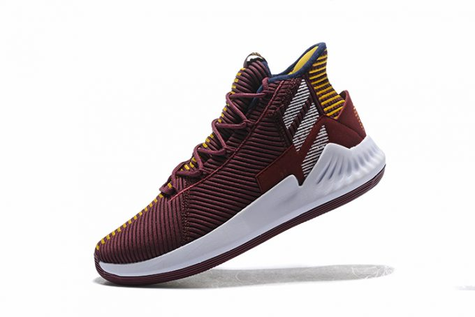 adidas D Rose 9 Vintage Wine White Yellow Basketball Shoes 1 680x454