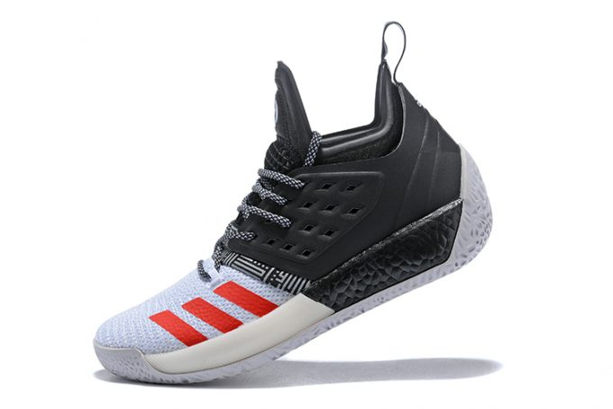 adidas Harden Vol 2 Black White Red Shoes 680x454