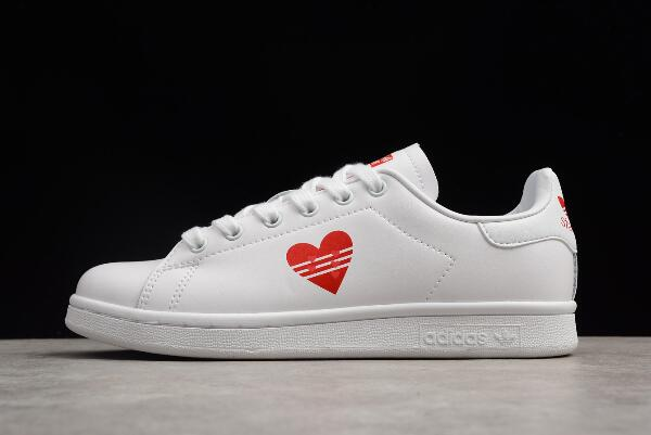 Custom adidas Stan Smith Valentines Day White Red Shoes