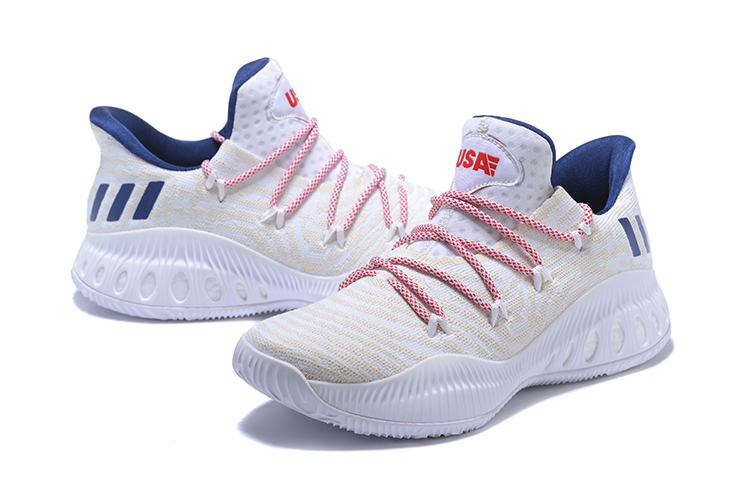 2018 adidas Crazy Explosive Low WhiteRoyal Blue Red Shoes