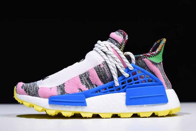 Womens Pharrell x adidas NMD Hu Solar Pack Hi Res Red Bright Blue