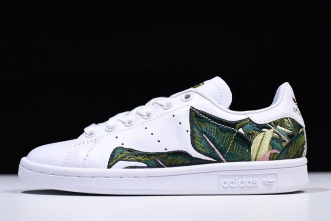 Womens adidas Originals Stan Smith White Green Golden