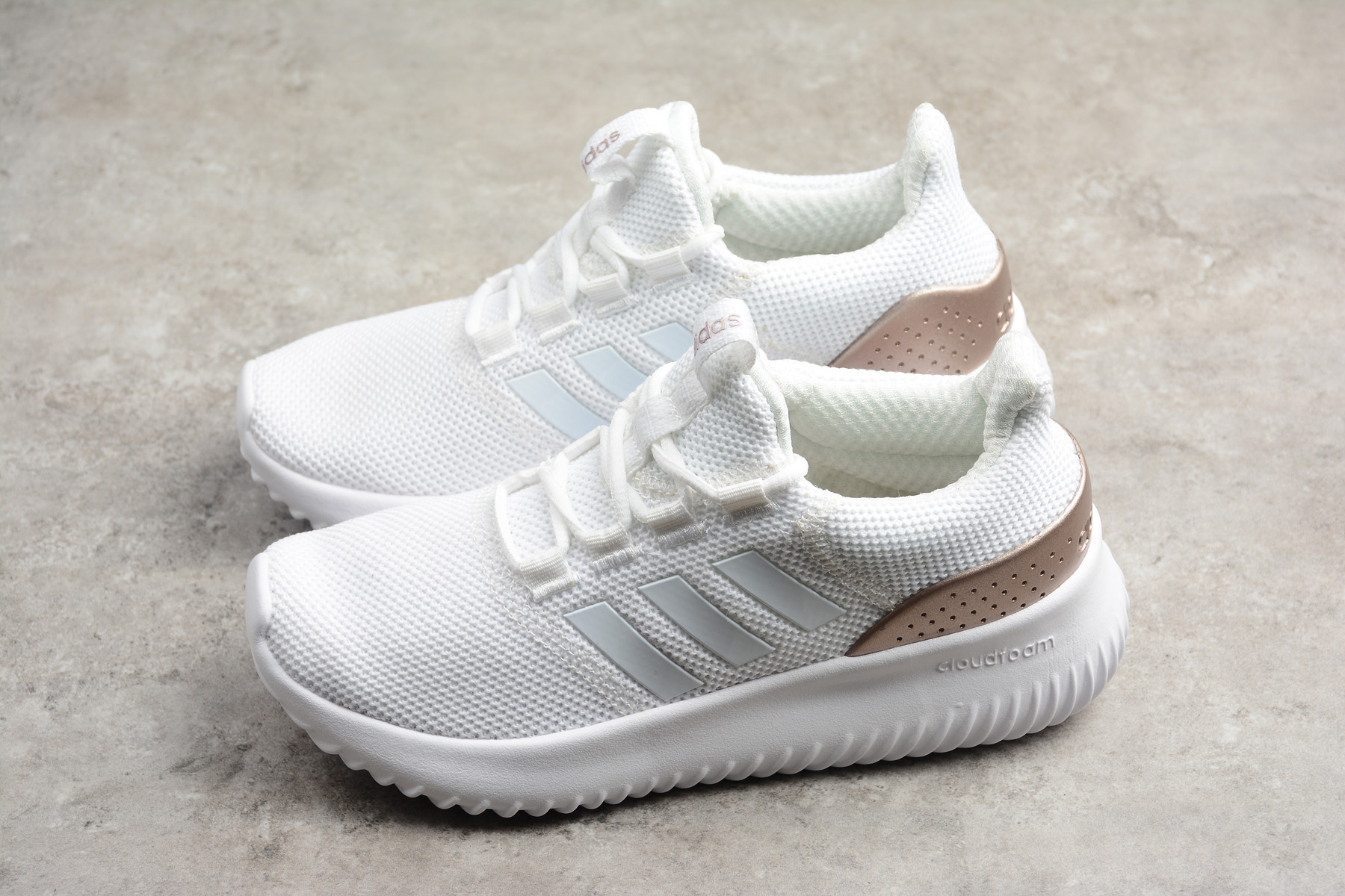 adidas Cloudfoam Ultimate Pure White Rose Gold Running Shoes DB1791