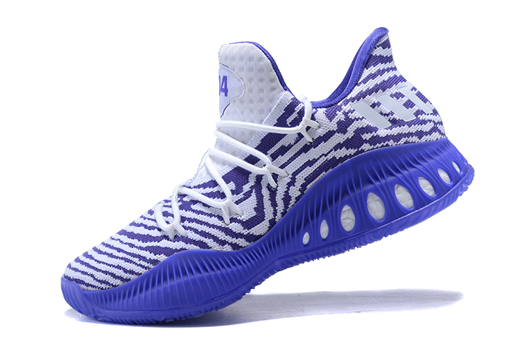 New adidas Crazy Explosive Low White Purple Men's Basketball Shoes
