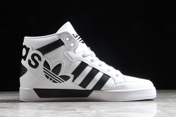 adidas Hardcourt Hi Big Logo White Leather Trainers 1