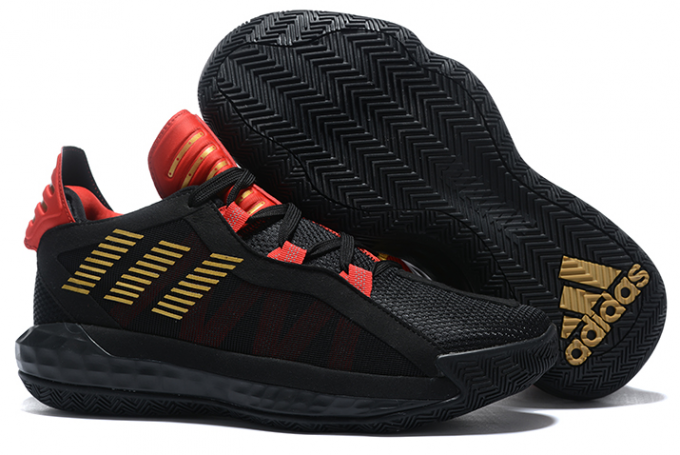 2020 adidas Dame 6 Black Metallic Gold Red For Sale 1 680x455