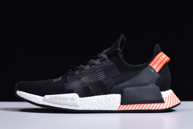 2020 Adidas Nmd R1 V2 Boost Black Orange White Fw6412 For Sale