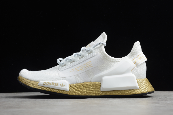 2020 Adidas Nmd R1 V2 Gold Boost Footwear White Gold Metallic