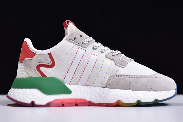 2020 adidas Nite Jogger Boost White Grey Red Green FY3235 For Sale 1
