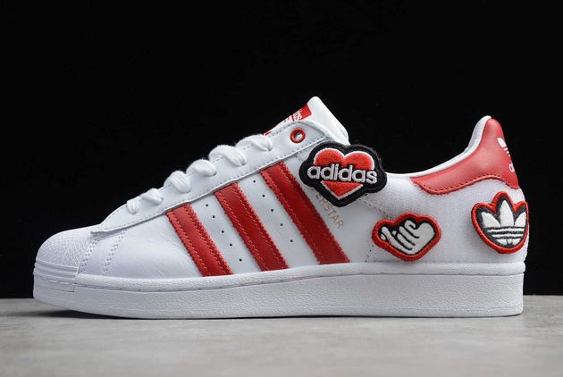2020 adidas Superstar Velcro White Red FY3117 For Sale