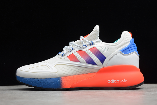 2020 adidas ZX 2K Boost Cloud White Solar Red Blue FX9519 For Sale