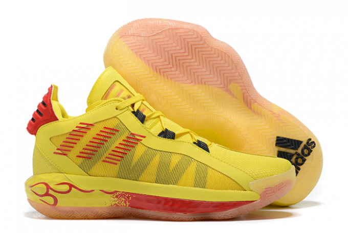 2020 adidas Dame 6 Hot Rod Team Yellow Core Black Scarlet FW8498 For Sale 1 680x455
