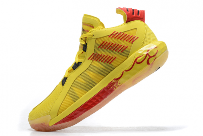 2020 adidas Dame 6 Hot Rod Team Yellow Core Black Scarlet FW8498 For Sale 680x455