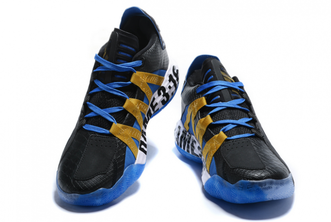 2020 adidas Dame 6 Stone Cold Black Gold Metallic Team Royal Blue FV4214 For Sale 1 680x455