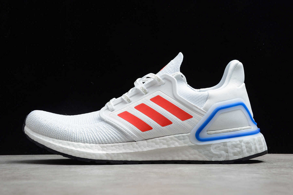 2020 adidas Ultra Boost 20 City Pack Seoul Cloud White Glory Red Royal Blue FX7813 For Sale