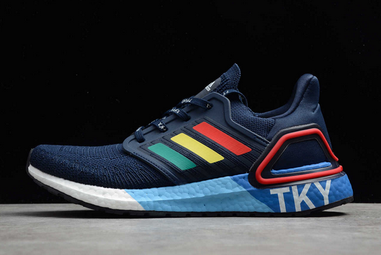 2020 adidas Ultra Boost 20 City Pack Tokyo Collegiate Navy Glory Red Shock Yellow FX7811 For Sale